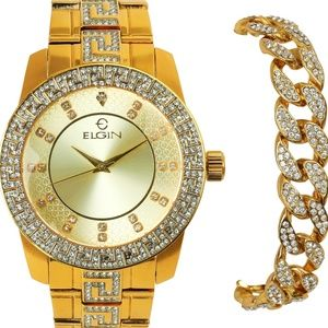 Other - Mens Iced Out Elgin Watch, Miami Cuban Bracelet